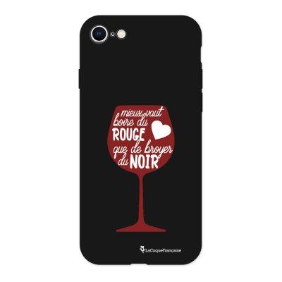 Coque iPhone 7/8 Silicone Liquide Douce noir Mieux Vaut Boire du Vin Rouge Ecriture Tendance et Design La Coque Francaise