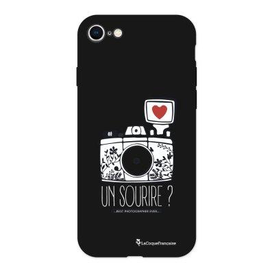 Coque iPhone 7/8 Silicone Liquide Douce noir Un sourire Ecriture Tendance et Design La Coque Francaise