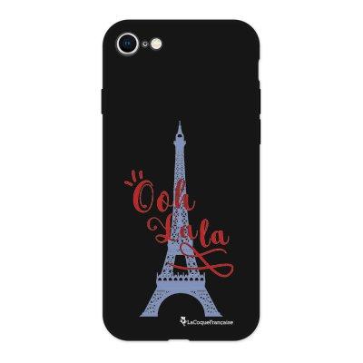 Coque iPhone 7/8 Silicone Liquide Douce noir Tour Eiffel Oh La La Ecriture Tendance et Design La Coque Francaise