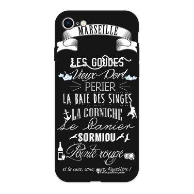 Coque iPhone 7/8 Silicone Liquide Douce noir Quartiers de Marseille BLANC Ecriture Tendance et Design La Coque Francaise
