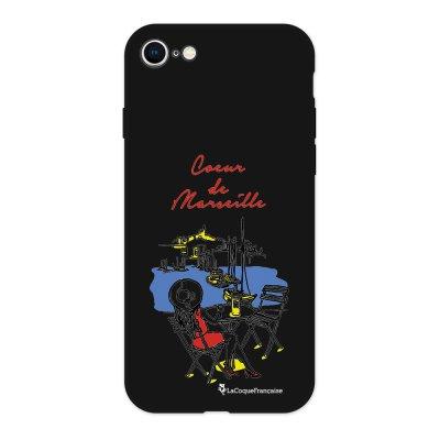 Coque iPhone 7/8 Silicone Liquide Douce noir Coeur de Marseille Ecriture Tendance et Design La Coque Francaise