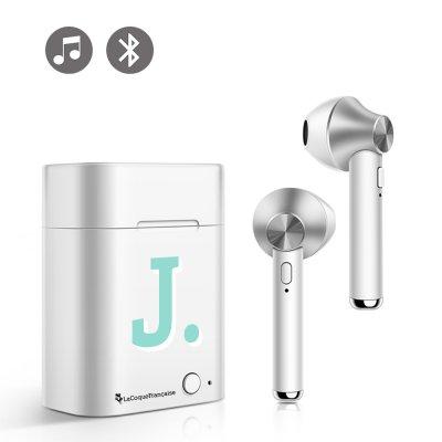 Ecouteurs Sans Fil Bluetooth Argent Initiale J La Coque Francaise