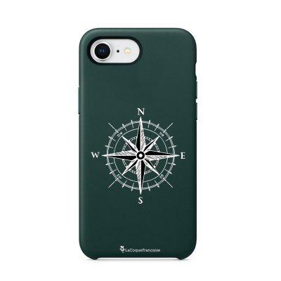 Coque iPhone 7/8 Silicone Liquide Douce vert caki Boussole Ecriture Tendance et Design La Coque Francaise