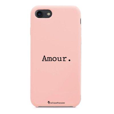 Coque iPhone 7/8 Silicone Liquide Douce rose pâle Amour Ecriture Tendance et Design La Coque Francaise
