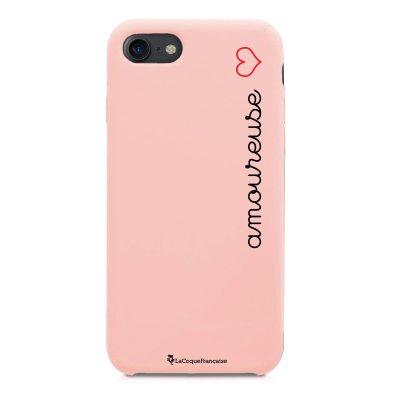 Coque iPhone 7/8 Silicone Liquide Douce rose pâle Amoureuse Ecriture Tendance et Design La Coque Francaise