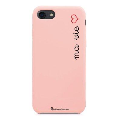 Coque iPhone 7/8 Silicone Liquide Douce rose pâle Ma vie Ecriture Tendance et Design La Coque Francaise