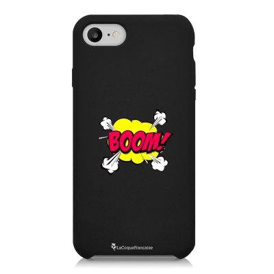 Coque iPhone 7/8 Silicone Liquide Douce noir BOOM Ecriture Tendance et Design La Coque Francaise