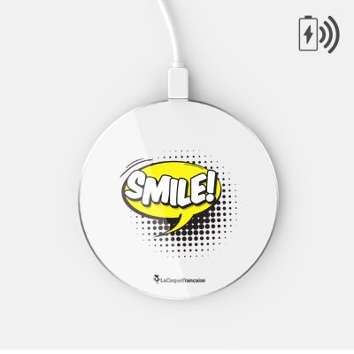 Chargeur Induction blanc SMILE Ecriture Tendance et Design La Coque Francaise