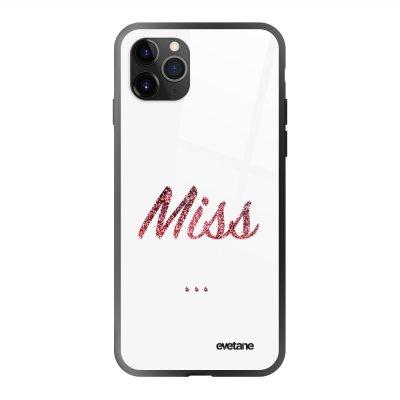 Coque en verre trempé iPhone 11 Pro Miss Boudeuse Ecriture Tendance et Design Evetane