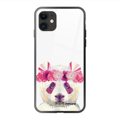 Coque en verre trempé iPhone 11 Panda Couronne Ecriture Tendance et Design Evetane
