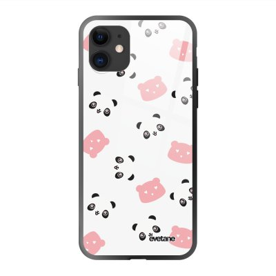 Coque en verre trempé iPhone 11 Tête de Panda Ecriture Tendance et Design Evetane