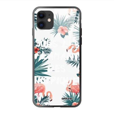 Coque en verre trempé iPhone 11 Flamants des tropiques Ecriture Tendance et Design Evetane