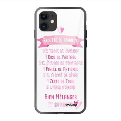 Coque en verre trempé iPhone 11 Recette du Bonheur Ecriture Tendance et Design Evetane
