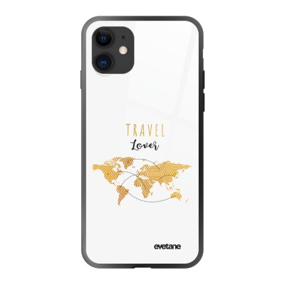 Coque en verre trempé iPhone 11 Travel Lover Ecriture Tendance et Design Evetane