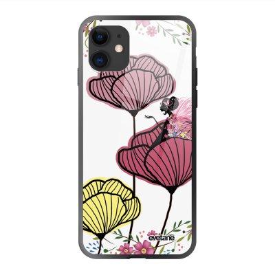 Coque en verre trempé iPhone 11 Coquelicot couleur Ecriture Tendance et Design Evetane