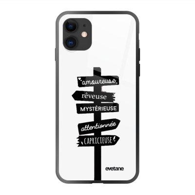 Coque en verre trempé iPhone 11 Traits De Caractère Ecriture Tendance et Design Evetane