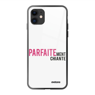 Coque en verre trempé iPhone 11 Parfaitement chiante Ecriture Tendance et Design Evetane