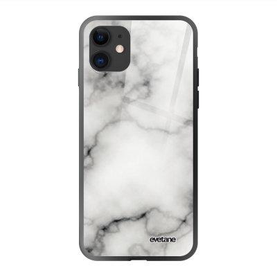 Coque en verre trempé iPhone 11 Marbre blanc Ecriture Tendance et Design Evetane