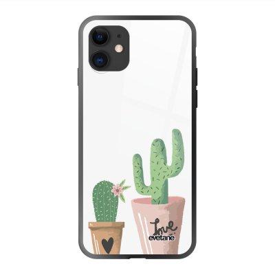 Coque en verre trempé iPhone 11 Cactus Ecriture Tendance et Design Evetane