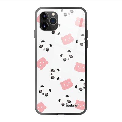 Coque en verre trempé iPhone 11 Pro Max Tête de Panda Ecriture Tendance et Design Evetane