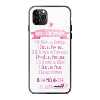Coque en verre trempé iPhone 11 Pro Max Recette du Bonheur Ecriture Tendance et Design Evetane