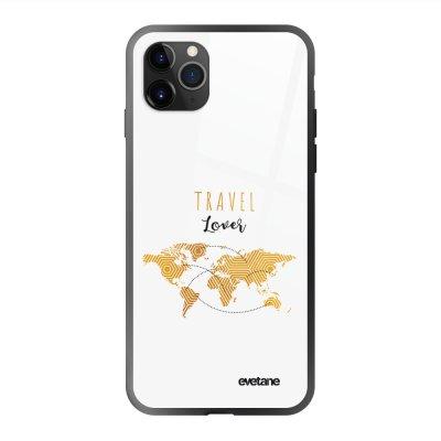 Coque en verre trempé iPhone 11 Pro Max Travel Lover Ecriture Tendance et Design Evetane