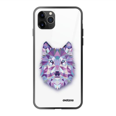 Coque en verre trempé iPhone 11 Pro Max Loup geometrique Ecriture Tendance et Design Evetane