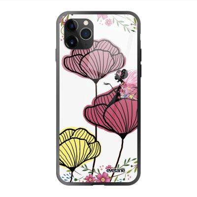Coque en verre trempé iPhone 11 Pro Max Coquelicot couleur Ecriture Tendance et Design Evetane