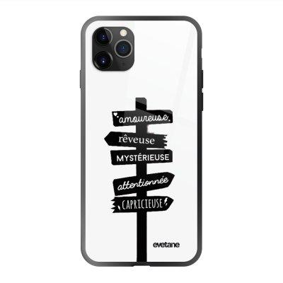 Coque en verre trempé iPhone 11 Pro Max Traits De Caractère Ecriture Tendance et Design Evetane