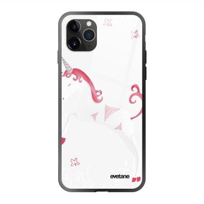 Coque en verre trempé iPhone 11 Pro Max Licorne Ecriture Tendance et Design Evetane