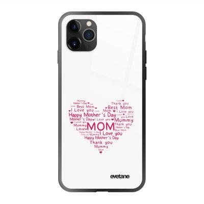 Coque en verre trempé iPhone 11 Pro Max FDM Coeur Ecriture Tendance et Design Evetane