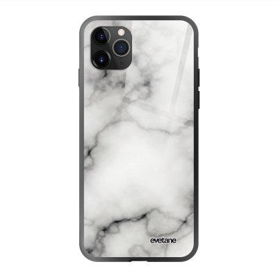 Coque en verre trempé iPhone 11 Pro Max Marbre blanc Ecriture Tendance et Design Evetane