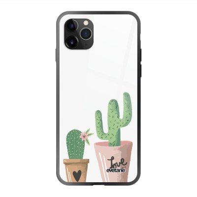 Coque en verre trempé iPhone 11 Pro Max Cactus Ecriture Tendance et Design Evetane