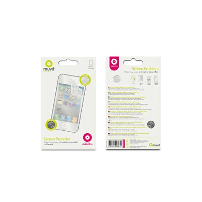 Pack de 2 films protecteurs Muvit  un effet miroir et un mat  pour iphone 4/4S