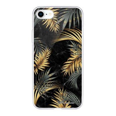 Coque 360 iPhone 7 iPhone 8 360 intégrale transparente Marbre noir et fougères Ecriture Tendance Design La Coque Francaise