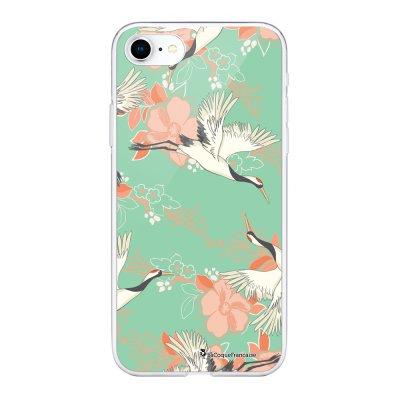 Coque 360 iPhone 7 iPhone 8 360 intégrale transparente Grues fleuries Ecriture Tendance Design La Coque Francaise
