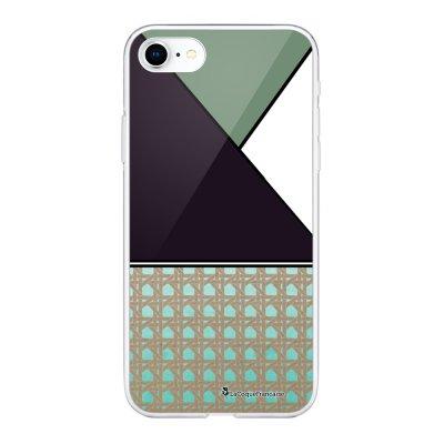Coque 360 iPhone 7 iPhone 8 360 intégrale transparente Triangles bleus et violet Ecriture Tendance Design La Coque Francaise