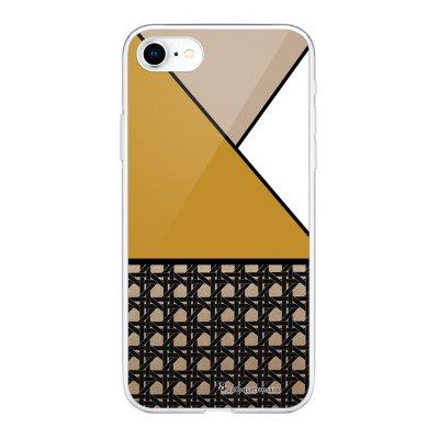 Coque 360 iPhone 7 iPhone 8 360 intégrale transparente Triangles moutarde Ecriture Tendance Design La Coque Francaise