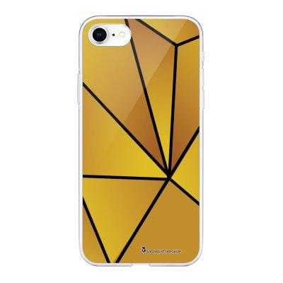 Coque 360 iPhone 7 iPhone 8 360 intégrale transparente Jaune géométrique Ecriture Tendance Design La Coque Francaise
