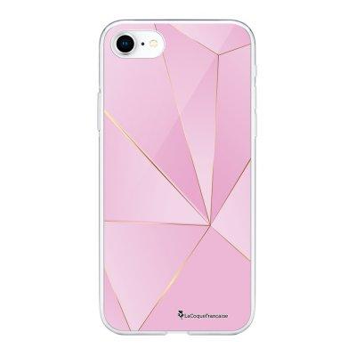 Coque 360 iPhone 7 iPhone 8 360 intégrale transparente Rose géométrique Ecriture Tendance Design La Coque Francaise