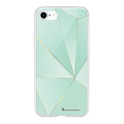 Coque 360 iPhone 7 iPhone 8 360 intégrale transparente Vert géométrique Ecriture Tendance Design La Coque Francaise