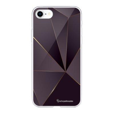 Coque 360 iPhone 7 iPhone 8 360 intégrale transparente Violet géométrique Ecriture Tendance Design La Coque Francaise