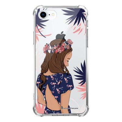 Coque iPhone 7 iPhone 8 anti-choc souple avec angles renforcés transparente Couronne de fleurs Tendance La Coque Francaise...