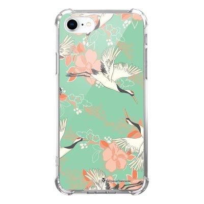 Coque iPhone 7 iPhone 8 anti-choc souple avec angles renforcés transparente Grues fleuries Tendance La Coque Francaise...