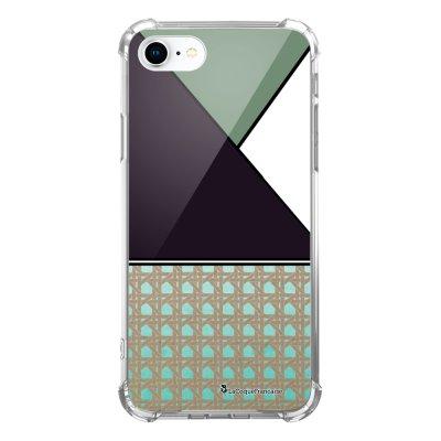 Coque iPhone 7 iPhone 8 anti-choc souple avec angles renforcés transparente Triangles bleus et violet Tendance La Coque Francaise...