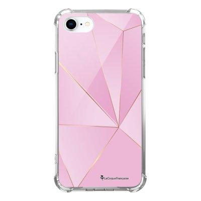 Coque iPhone 7 iPhone 8 anti-choc souple avec angles renforcés transparente Rose géométrique Tendance La Coque Francaise...