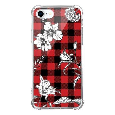 Coque iPhone 7 iPhone 8 anti-choc souple avec angles renforcés transparente Tartan rouge et noir Tendance La Coque Francaise...