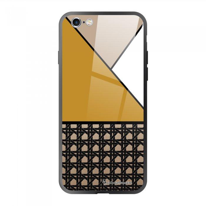 Coque en verre trempé iPhone 6/6S Triangles moutarde Ecriture Tendance et Design La Coque Francaise