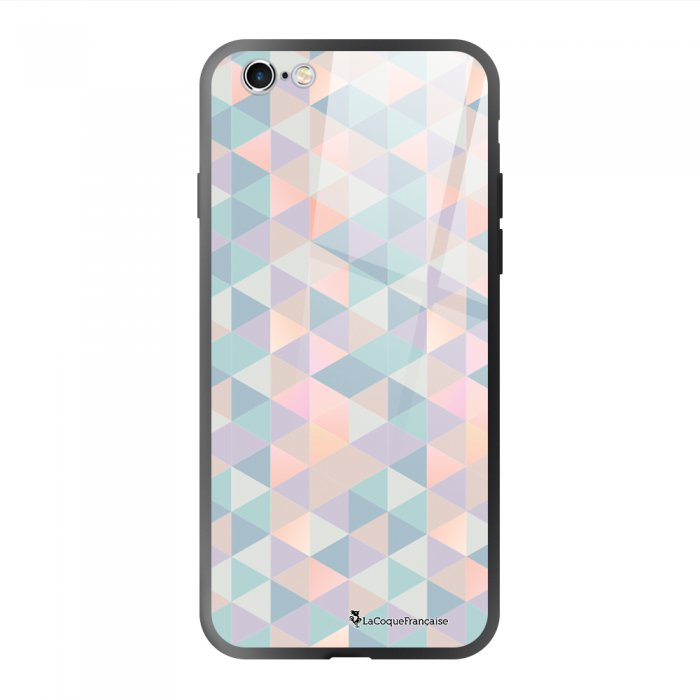 Coque en verre trempé iPhone 6/6S Triangles multicolors Ecriture Tendance et Design La Coque Francaise.