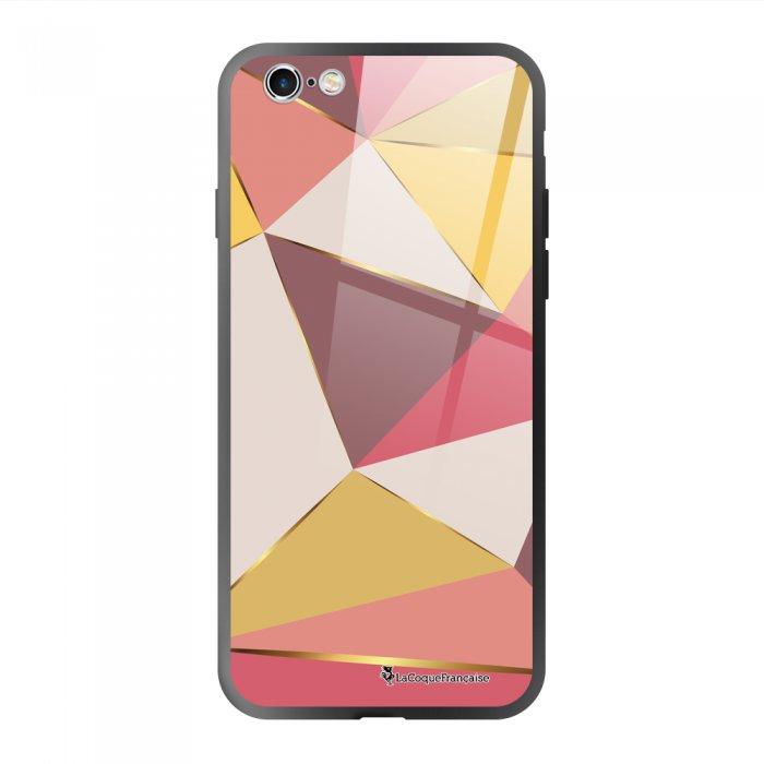 Coque en verre trempé iPhone 6/6S Triangles roses Ecriture Tendance et Design La Coque Francaise